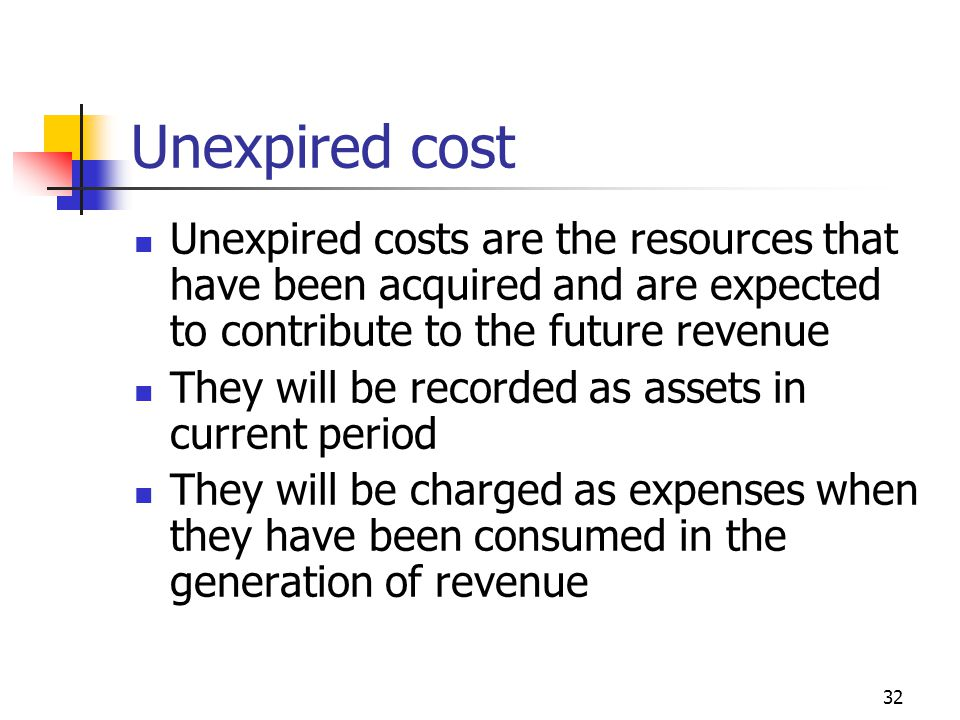 32 Unexpired cost Unexpired costs are the resources that have been acquired and are expected to contribute to the future revenue They will be recorded as assets in current period They will be charged as expenses when they have been consumed in the generation of revenue