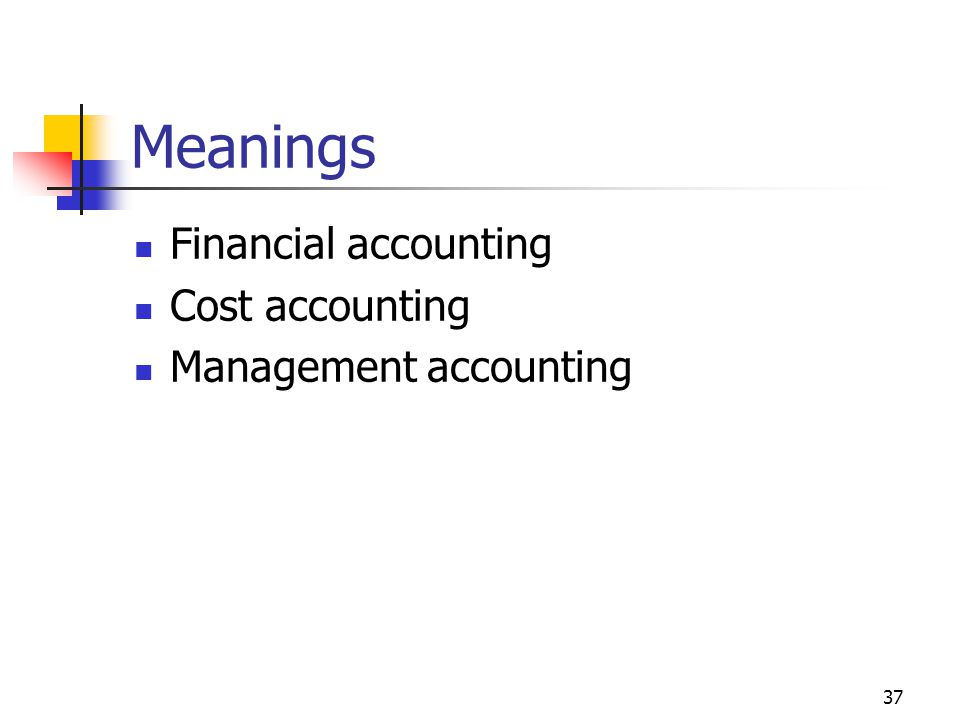37 Meanings Financial accounting Cost accounting Management accounting