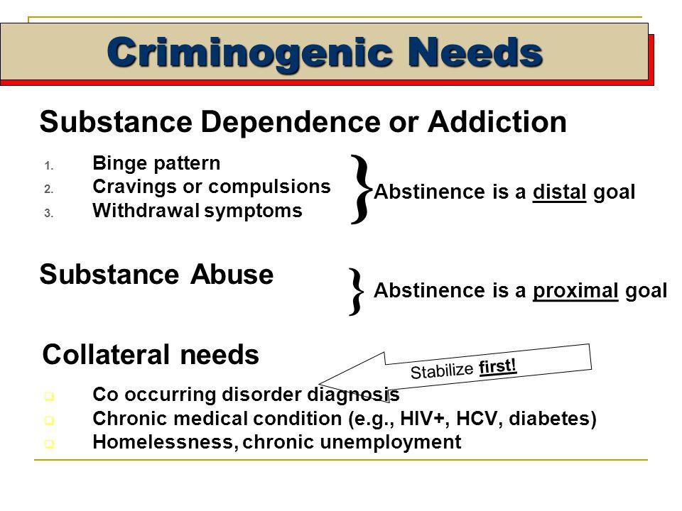Criminogenic Needs Substance Dependence or Addiction 1.