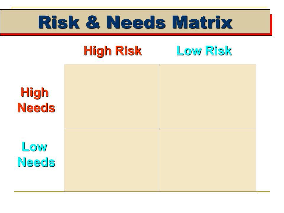 High Risk Low Risk HighNeeds LowNeeds Risk & Needs Matrix