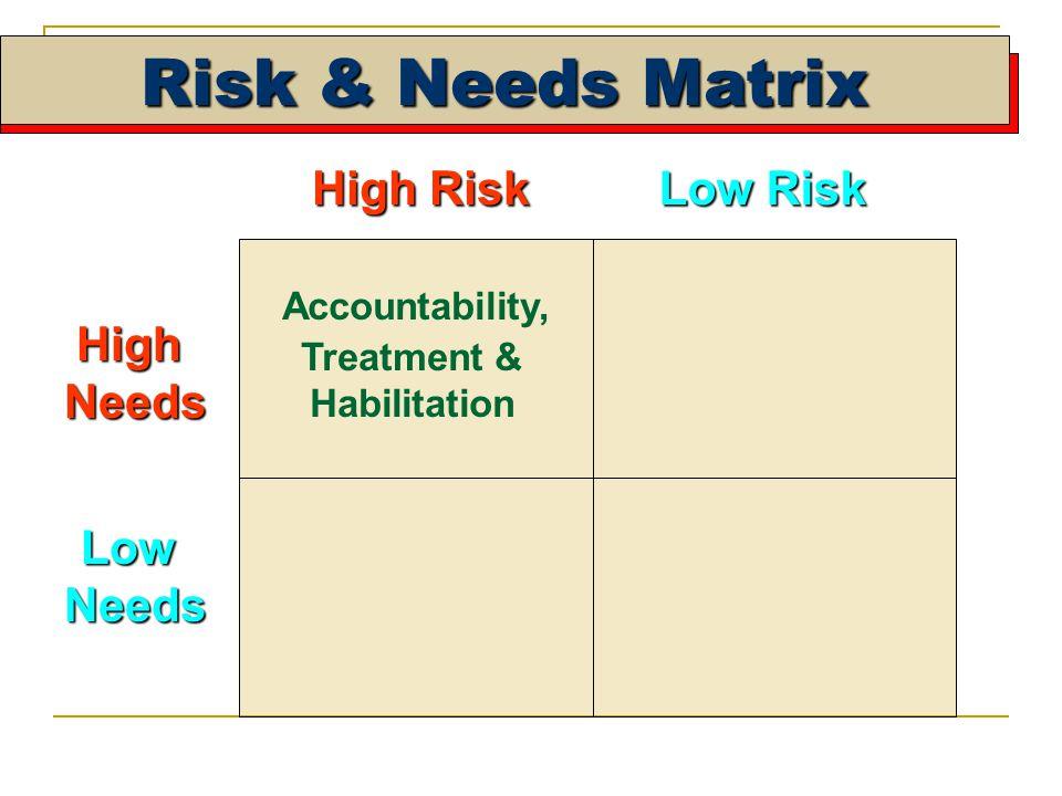 High Risk Low Risk HighNeeds LowNeeds Accountability, Treatment & Habilitation