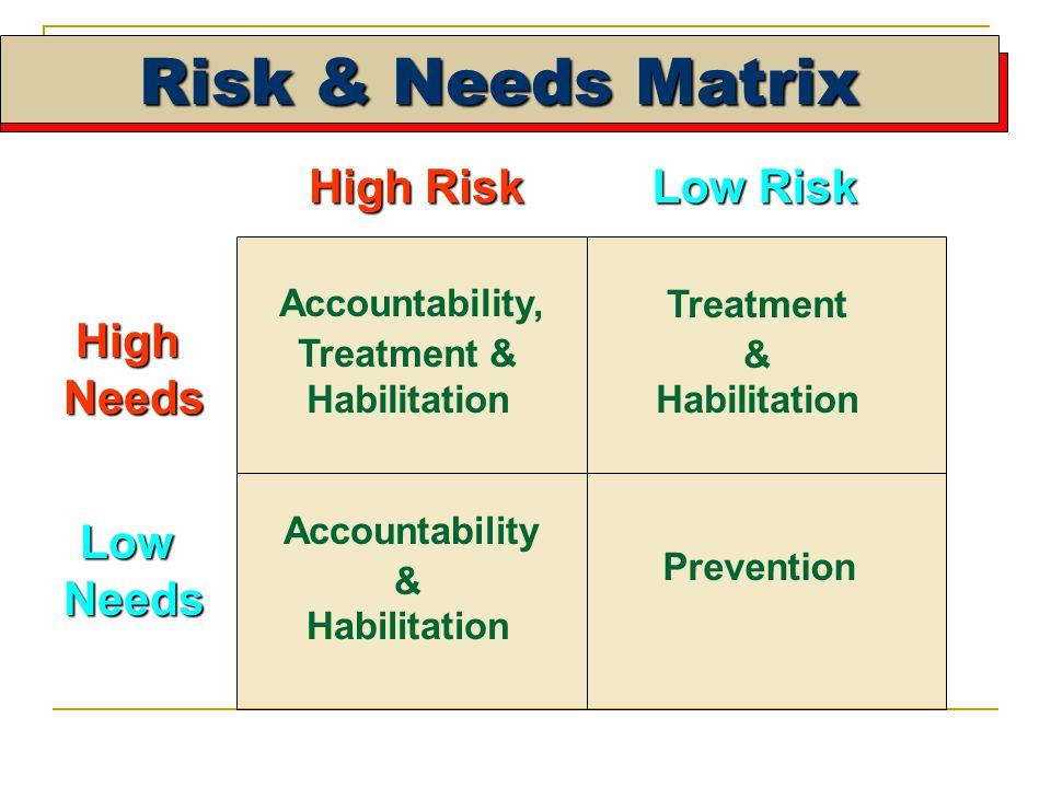 Risk & Needs Matrix High Risk Low Risk HighNeeds LowNeeds Prevention Accountability & Habilitation Treatment & Habilitation Accountability, Treatment & Habilitation