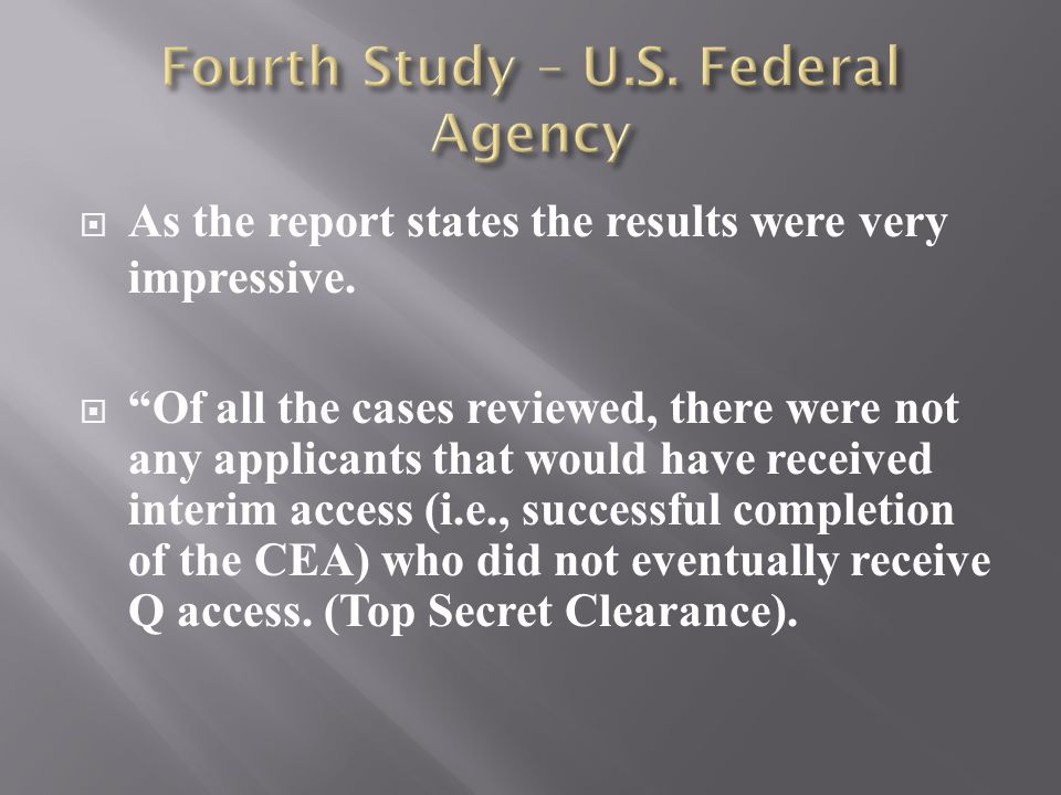  As the report states the results were very impressive.