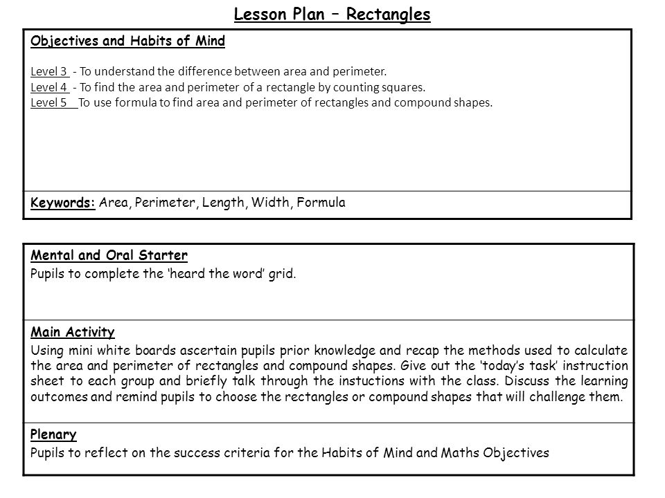 Lesson Plan – Rectangles Mental and Oral Starter Pupils to complete the 'heard the word' grid.