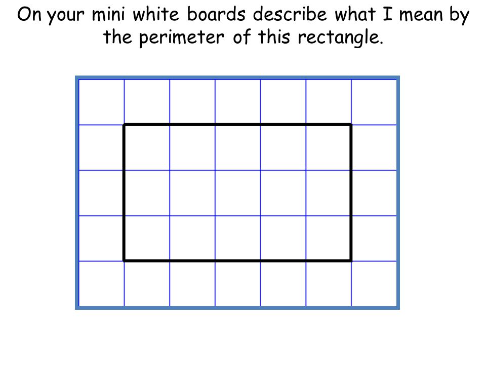 On your mini white boards describe what I mean by the perimeter of this rectangle.