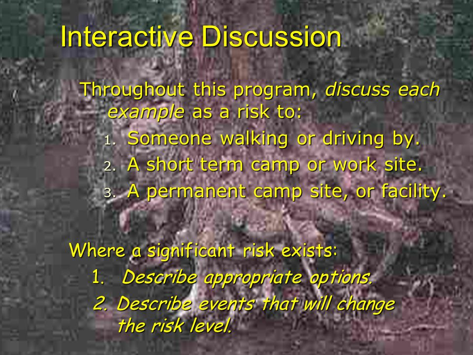 Interactive Discussion Throughout this program, discuss each example as a risk to: 1.