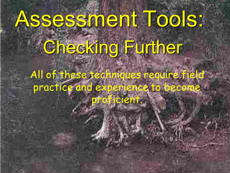 Assessment Tools: Checking Further All of these techniques require field practice and experience to become proficient.