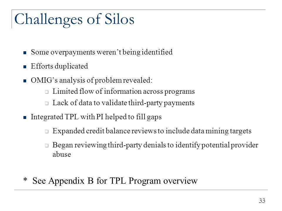 33 Challenges of Silos Some overpayments weren't being identified Efforts duplicated OMIG's analysis of problem revealed:  Limited flow of informatio