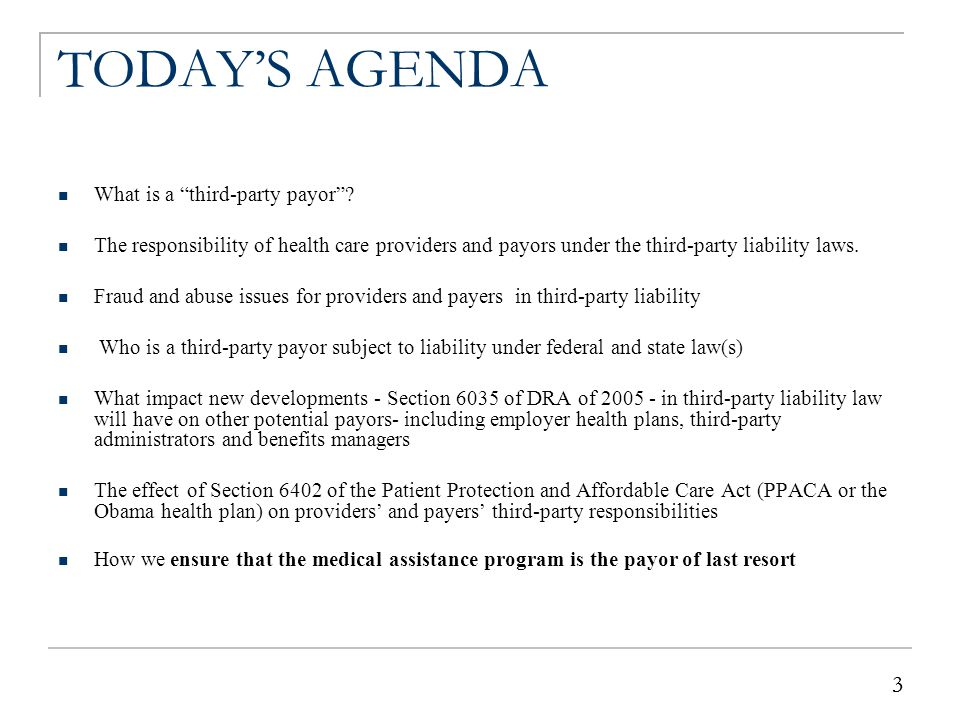 """3 3 TODAY'S AGENDA What is a """"third-party payor""""? The responsibility of health care providers and payors under the third-party liability laws. Fraud a"""