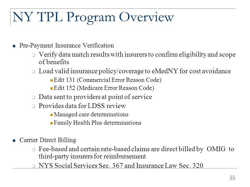 55 NY TPL Program Overview Pre-Payment Insurance Verification  Verify data match results with insurers to confirm eligibility and scope of benefits 