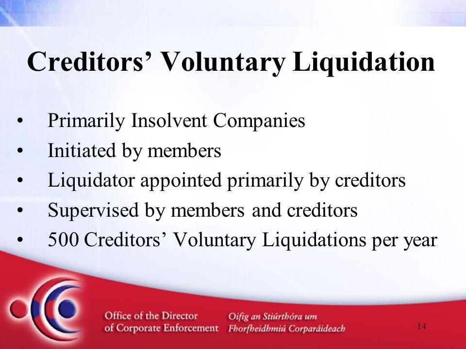 14 Creditors' Voluntary Liquidation Primarily Insolvent Companies Initiated by members Liquidator appointed primarily by creditors Supervised by membe