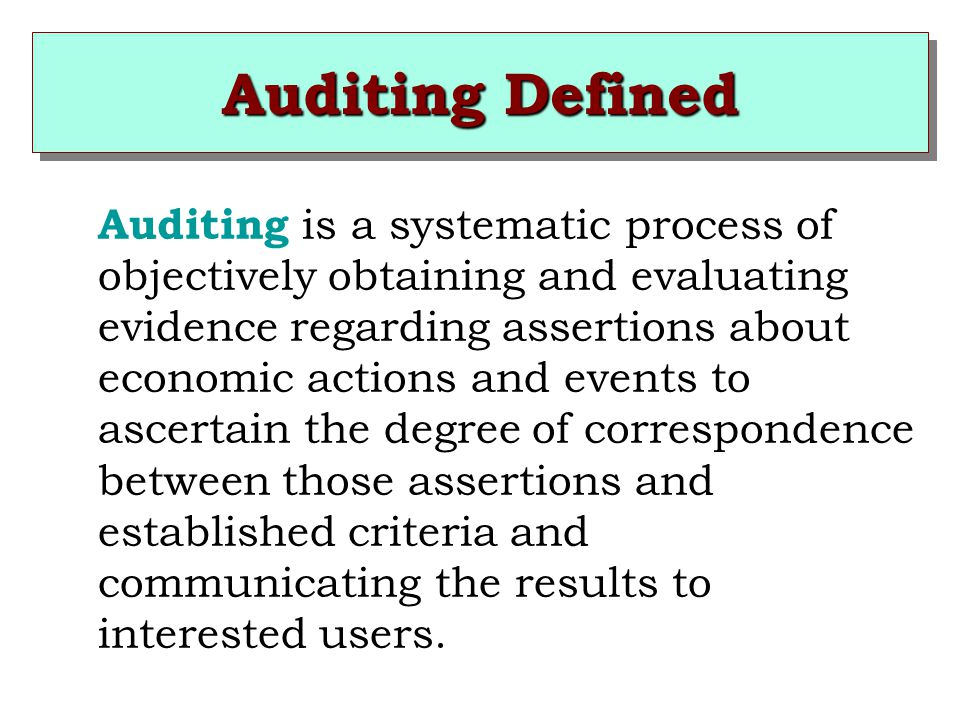 Auditing Defined Auditing is a systematic process of objectively obtaining and evaluating evidence regarding assertions about economic actions and events to ascertain the degree of correspondence between those assertions and established criteria and communicating the results to interested users.