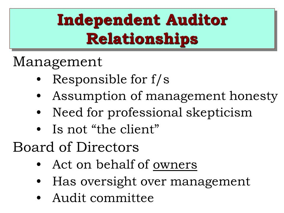 Independent Auditor Relationships Management Responsible for f/s Assumption of management honesty Need for professional skepticism Is not the client Board of Directors Act on behalf of owners Has oversight over management Audit committee