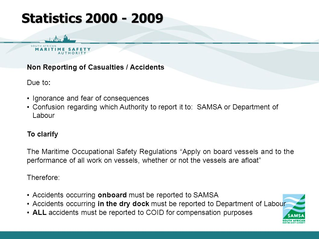 Statistics 2000 - 2009 Non Reporting of Casualties / Accidents Due to: Ignorance and fear of consequences Confusion regarding which Authority to repor