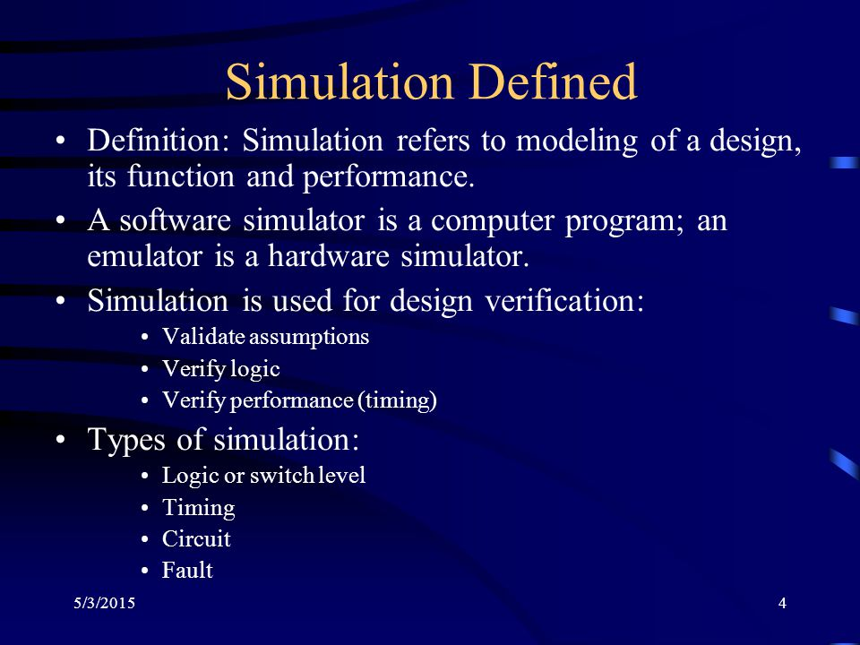 5/3/201515 Efficiency of Event-driven Simulator Simulates events (value changes) only Speed up over compiled-code can be ten times or more; in large logic circuits about 0.1 to 10% gates become active for an input change Large logic block without activity Steady 0 0 to 1 event Steady 0 (no event)