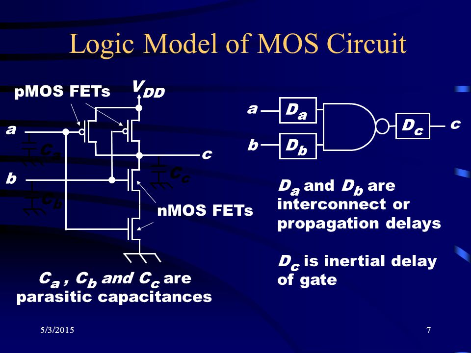 5/3/20157 CaCa Logic Model of MOS Circuit CcCc CbCb V DD a b c pMOS FETs nMOS FETs C a, C b and C c are parasitic capacitances DcDc DaDa c a b D a and
