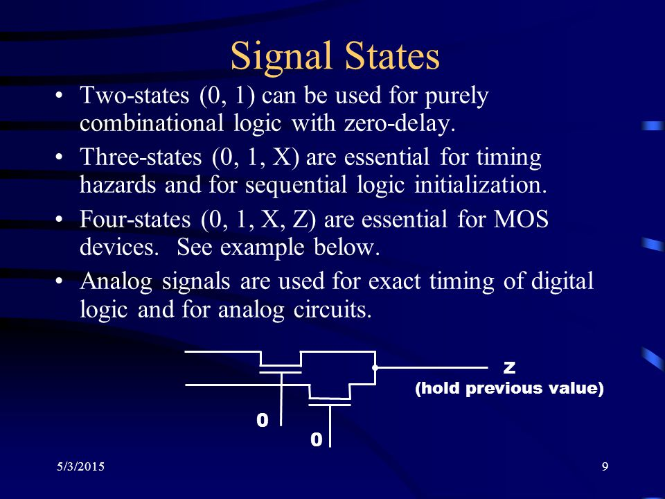 5/3/20159 Signal States Two-states (0, 1) can be used for purely combinational logic with zero-delay.