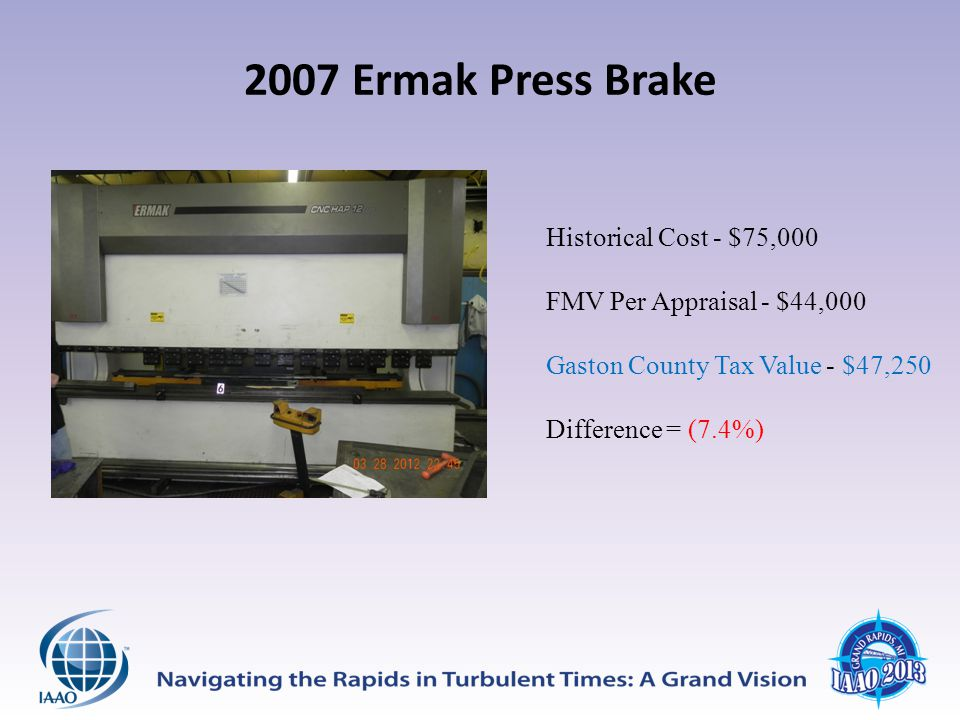 2007 Ermak Press Brake Historical Cost - $75,000 FMV Per Appraisal - $44,000 Gaston County Tax Value - $47,250 Difference = (7.4%)