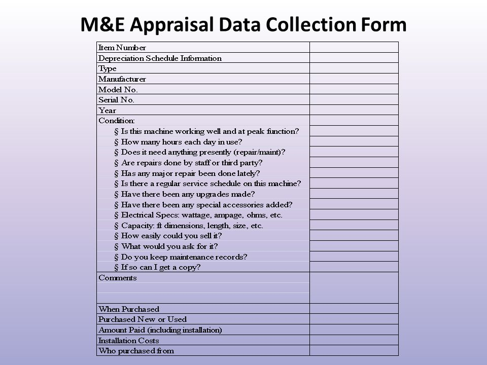 M&E Appraisal Data Collection Form