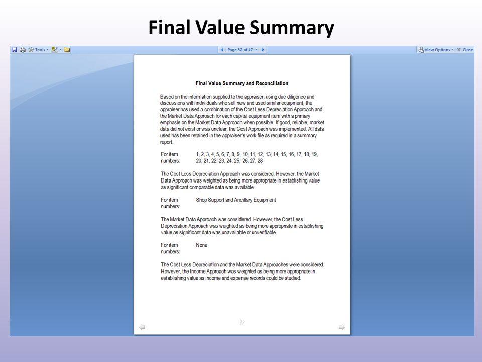 Final Value Summary