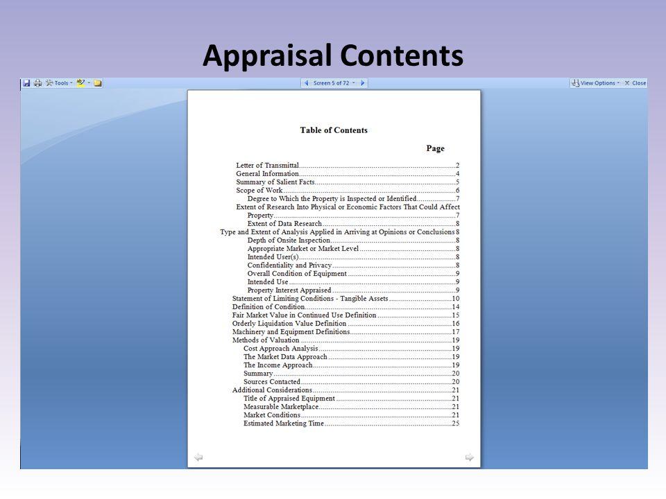 Appraisal Contents