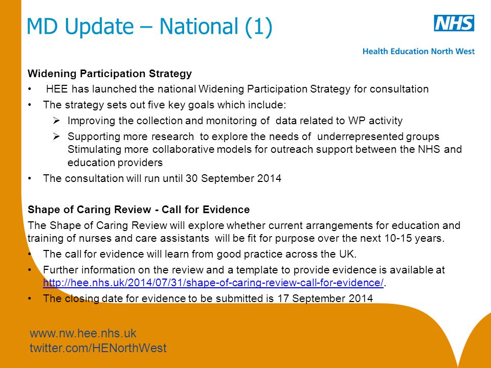 www.nw.hee.nhs.uk twitter.com/HENorthWest MD Update – National (1) Widening Participation Strategy HEE has launched the national Widening Participation Strategy for consultation The strategy sets out five key goals which include:  Improving the collection and monitoring of data related to WP activity  Supporting more research to explore the needs of underrepresented groups Stimulating more collaborative models for outreach support between the NHS and education providers The consultation will run until 30 September 2014 Shape of Caring Review - Call for Evidence The Shape of Caring Review will explore whether current arrangements for education and training of nurses and care assistants will be fit for purpose over the next 10-15 years.