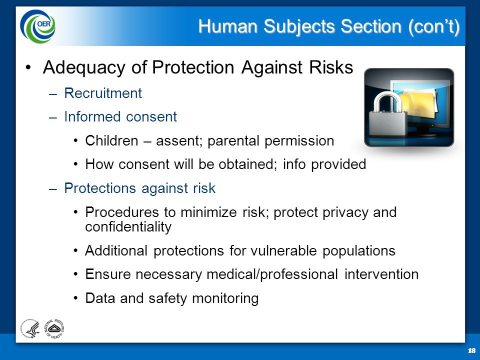 18 Human Subjects Section (con't) Adequacy of Protection Against Risks –Recruitment –Informed consent Children – assent; parental permission How consent will be obtained; info provided –Protections against risk Procedures to minimize risk; protect privacy and confidentiality Additional protections for vulnerable populations Ensure necessary medical/professional intervention Data and safety monitoring 18