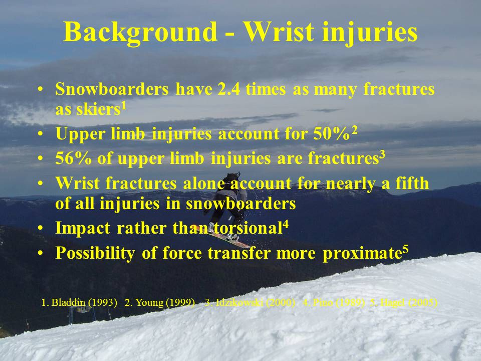 Background - Wrist injuries Snowboarders have 2.4 times as many fractures as skiers 1 Upper limb injuries account for 50% 2 56% of upper limb injuries are fractures 3 Wrist fractures alone account for nearly a fifth of all injuries in snowboarders Impact rather than torsional 4 Possibility of force transfer more proximate 5 1.