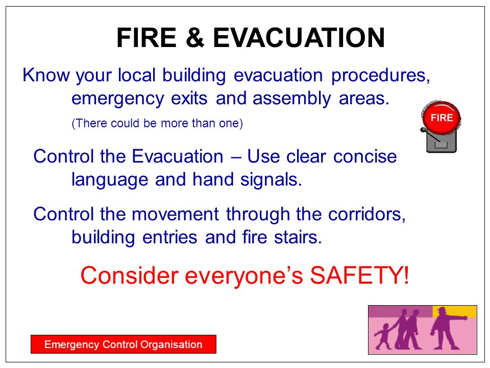Emergency Control Organisation Know your local building evacuation procedures, emergency exits and assembly areas. (There could be more than one) Cont