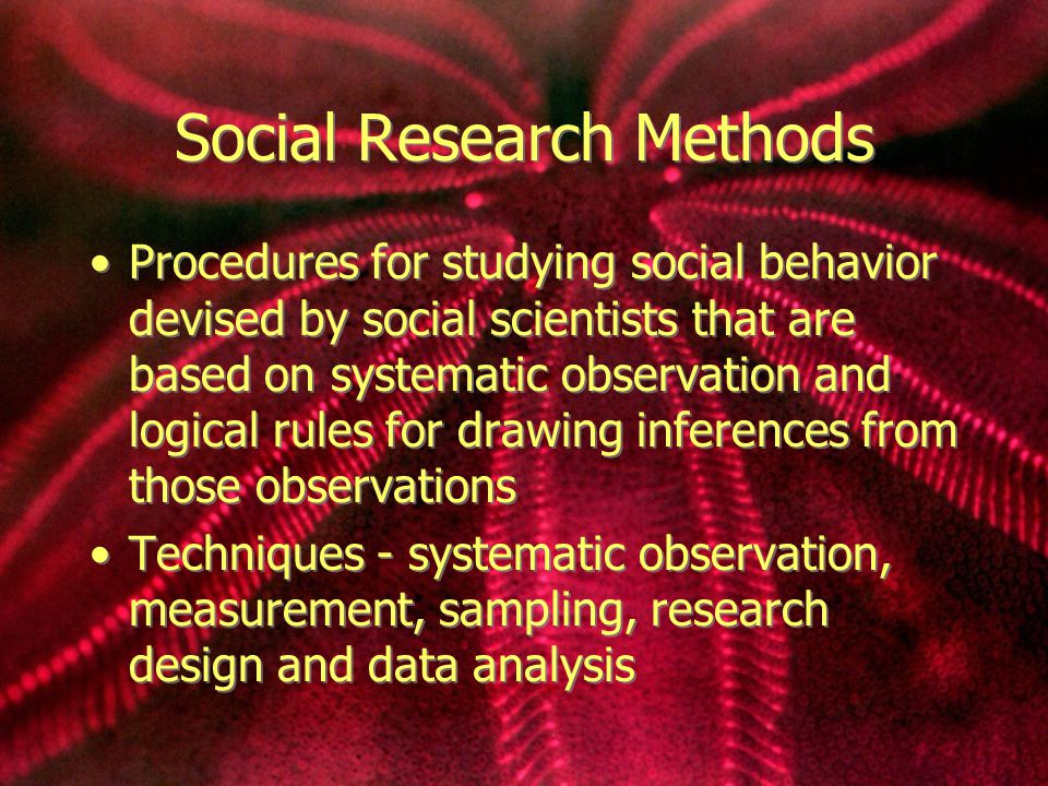 Social Research Methods Procedures for studying social behavior devised by social scientists that are based on systematic observation and logical rules for drawing inferences from those observations Techniques - systematic observation, measurement, sampling, research design and data analysis Procedures for studying social behavior devised by social scientists that are based on systematic observation and logical rules for drawing inferences from those observations Techniques - systematic observation, measurement, sampling, research design and data analysis