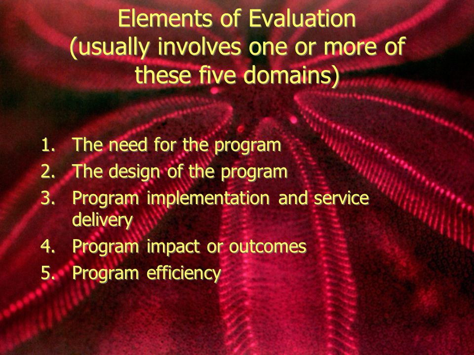 Elements of Evaluation (usually involves one or more of these five domains) 1.The need for the program 2.The design of the program 3.Program implementation and service delivery 4.Program impact or outcomes 5.Program efficiency 1.The need for the program 2.The design of the program 3.Program implementation and service delivery 4.Program impact or outcomes 5.Program efficiency