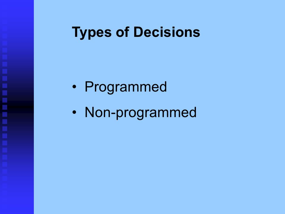 Types of Decisions Programmed Non-programmed