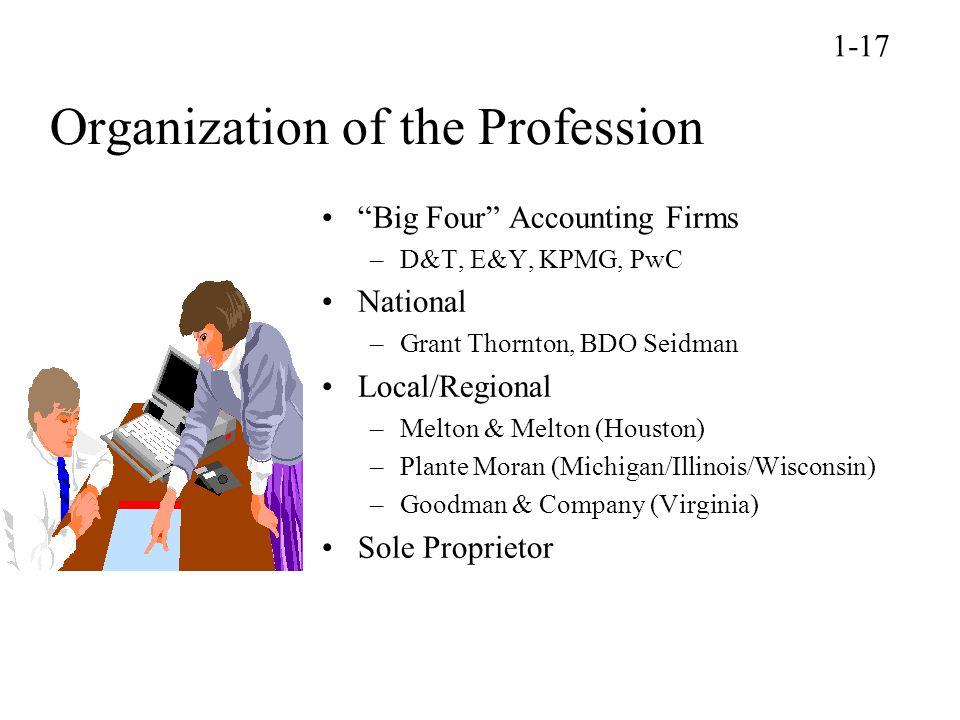 "Organization of the Profession ""Big Four"" Accounting Firms –D&T, E&Y, KPMG, PwC National –Grant Thornton, BDO Seidman Local/Regional –Melton & Melton"