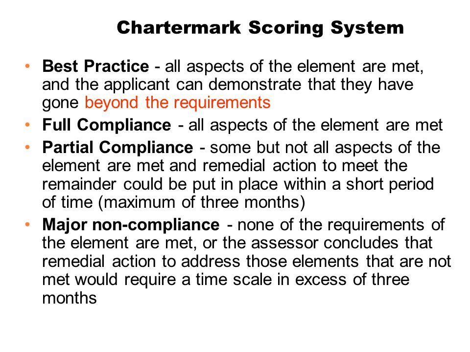 Chartermark Scoring System Best Practice - all aspects of the element are met, and the applicant can demonstrate that they have gone beyond the requir