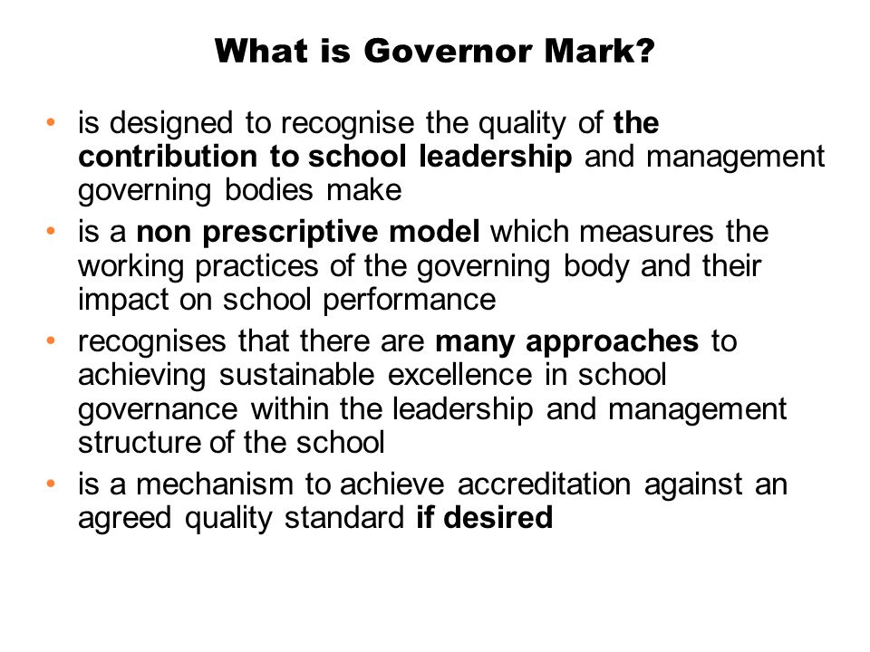 What is Governor Mark.