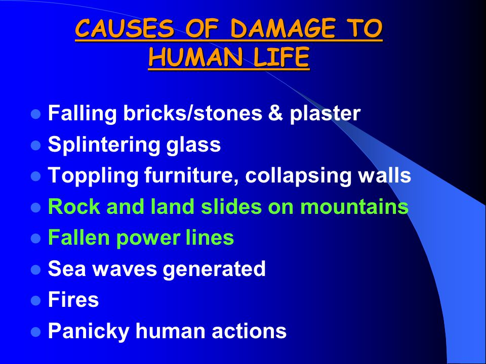 CAUSES OF DAMAGE TO HUMAN LIFE Falling bricks/stones & plaster Splintering glass Toppling furniture, collapsing walls Rock and land slides on mountains Fallen power lines Sea waves generated Fires Panicky human actions