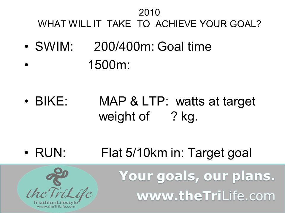 2010 WHAT WILL IT TAKE TO ACHIEVE YOUR GOAL.