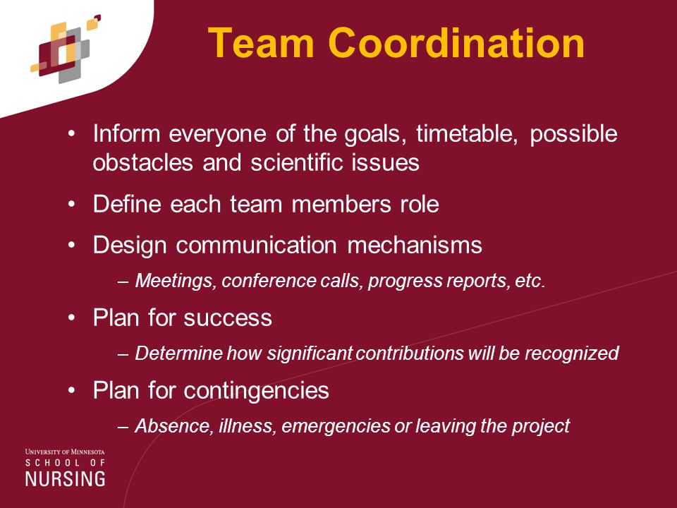 Team Coordination Inform everyone of the goals, timetable, possible obstacles and scientific issues Define each team members role Design communication mechanisms –Meetings, conference calls, progress reports, etc.