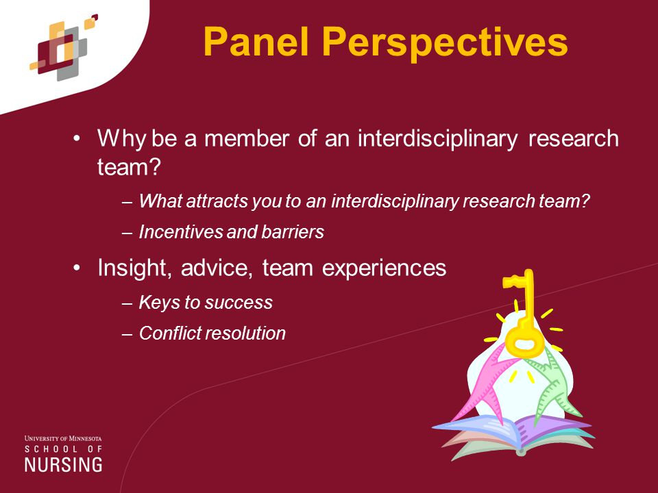 Panel Perspectives Why be a member of an interdisciplinary research team.
