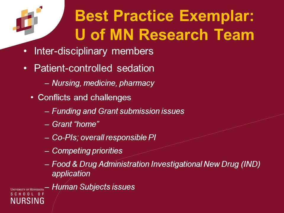 Best Practice Exemplar: U of MN Research Team Inter-disciplinary members Patient-controlled sedation –Nursing, medicine, pharmacy Conflicts and challenges –Funding and Grant submission issues –Grant home –Co-PIs; overall responsible PI –Competing priorities –Food & Drug Administration Investigational New Drug (IND) application –Human Subjects issues