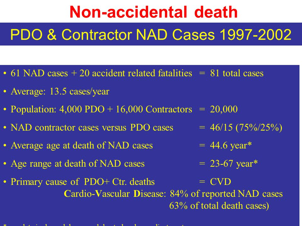Non-accidental death 61 NAD cases + 20 accident related fatalities = 81 total cases Average: 13.5 cases/year Population: 4,000 PDO + 16,000 Contractors = 20,000 NAD contractor cases versus PDO cases = 46/15 (75%/25%) Average age at death of NAD cases = 44.6 year* Age range at death of NAD cases = 23-67 year* Primary cause of PDO+ Ctr.