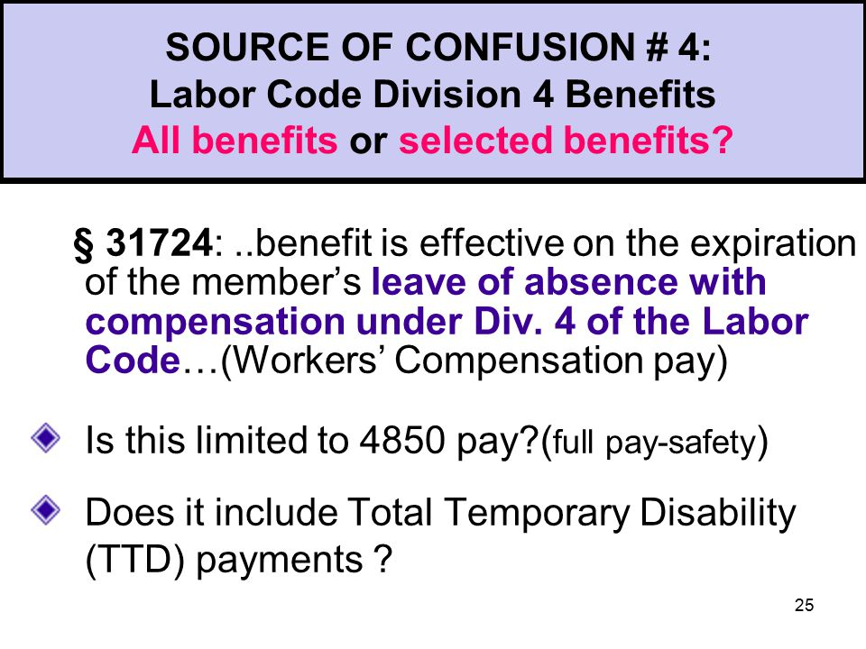 25 SOURCE OF CONFUSION # 4: Labor Code Division 4 Benefits All benefits or selected benefits.