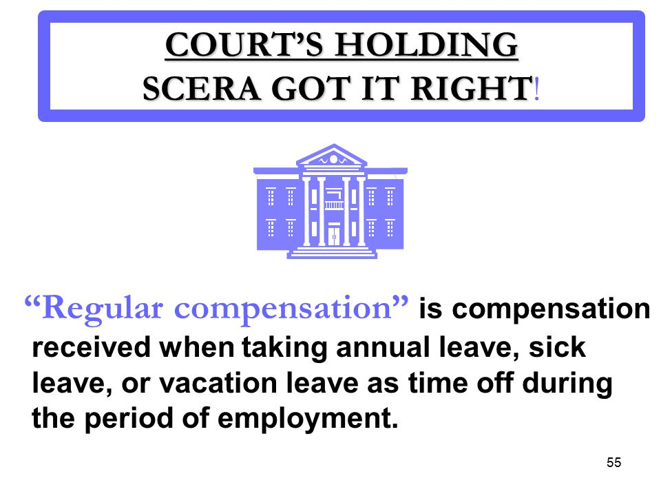 55 COURT'S HOLDING SCERA GOT IT RIGHT COURT'S HOLDING SCERA GOT IT RIGHT.