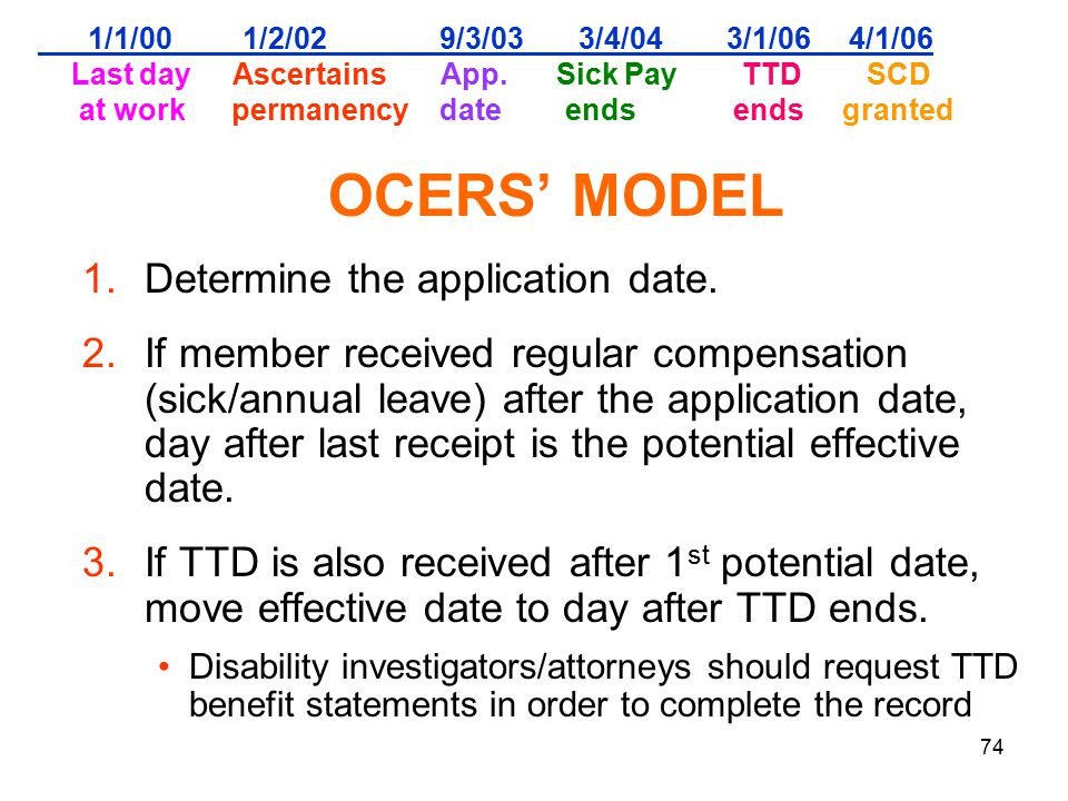 74 1/1/00 1/2/02 9/3/03 3/4/04 3/1/06 4/1/06 Last day Ascertains App. Sick Pay TTD SCD at work permanency date ends ends granted OCERS' MODEL 1.Determ