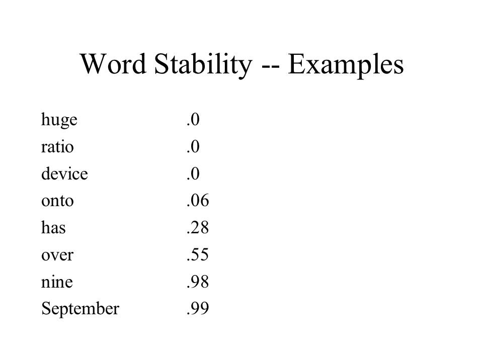 Word Stability -- Examples huge.0 ratio.0 device.0 onto.06 has.28 over.55 nine.98 September.99