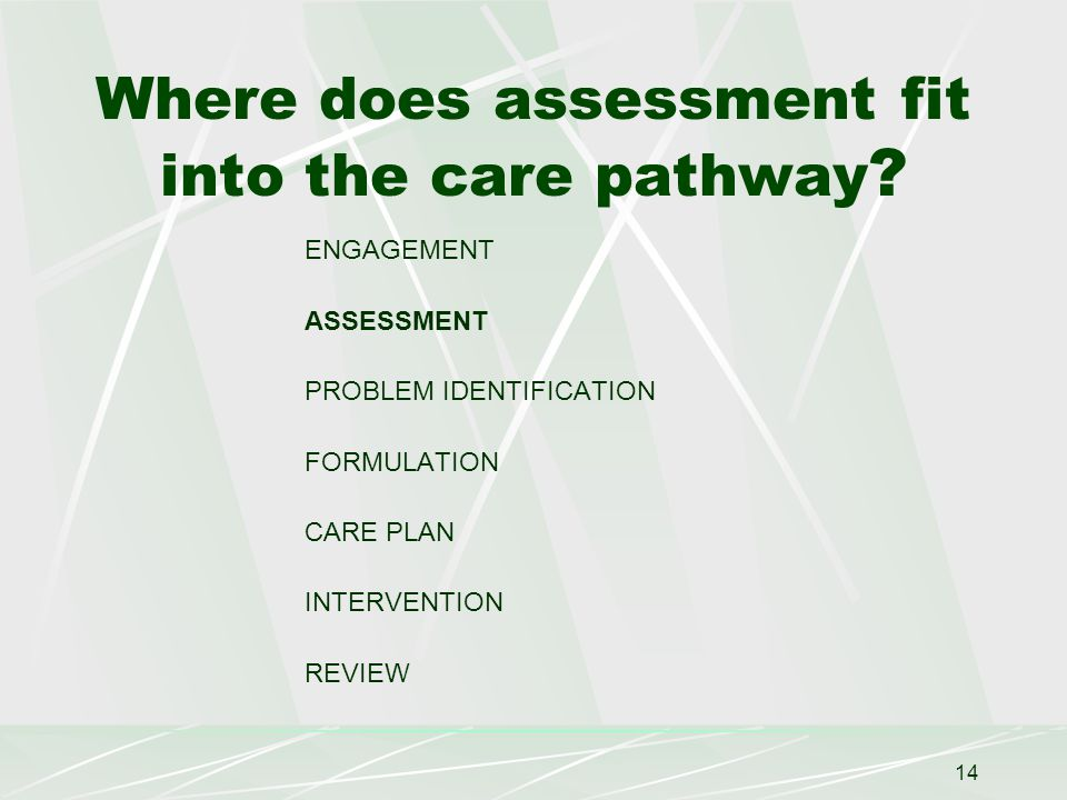 14 Where does assessment fit into the care pathway .
