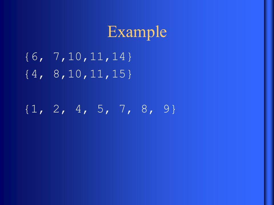 Example {6, 7,10,11,14} {4, 8,10,11,15} {1, 2, 4, 5, 7, 8, 9}