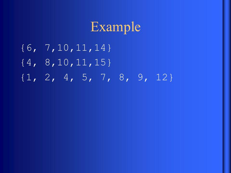 Example {6, 7,10,11,14} {4, 8,10,11,15} {1, 2, 4, 5, 7, 8, 9, 12}
