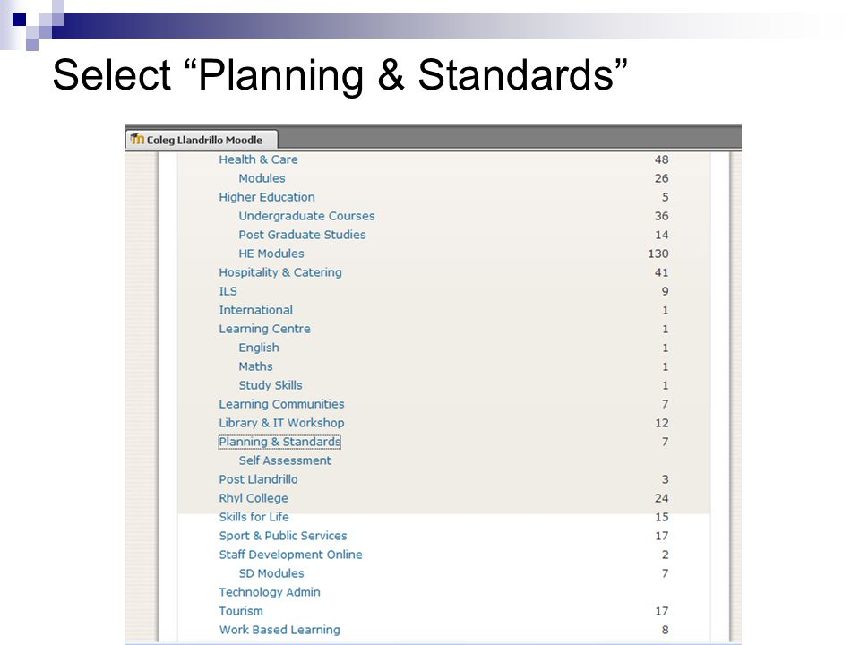 """Select """"Planning & Standards"""""""