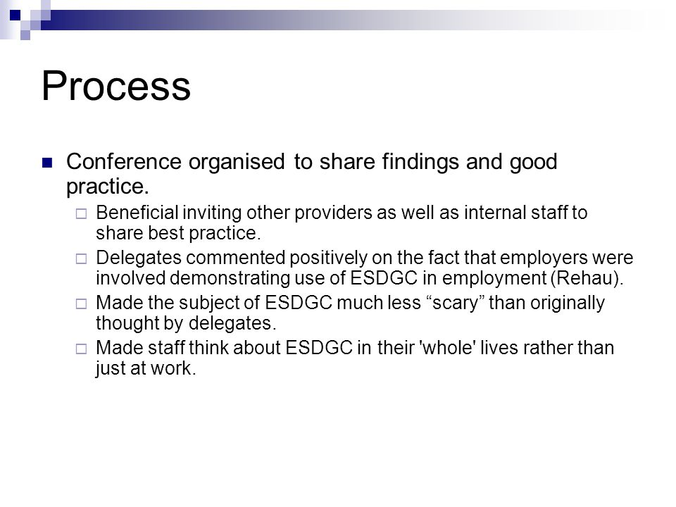 Further embedding of ESDGC Incorporating ESDGC in weekly meetings and ESDGC champion selected.